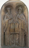 Memorial bas-relief to Anthony of the Caves and Theodosius Pechersky. Royalty Free Stock Photography