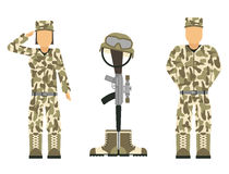 Memorial battlefield cross american honor symbol of a fallen US soldier characters modern war rifle M16 with boots and. Helmet vector illustration. Special Stock Images
