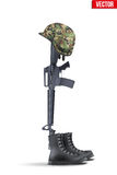 Memorial Battlefield Cross. The symbol of a fallen US soldier. Modern war. Rifle M16 with boots and helmet. Vector Illustration Isolated on white background Royalty Free Stock Images