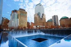 Memorial 911 with beautiful buildings, New York Royalty Free Stock Image