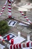 Memorial bell for president Lech Kaczynski, his wife Maria,  Ryszard Kaczorowski-President in Exile and 93 people died in Smolensk. WARSAW, POLAND - JANUARY 10 Royalty Free Stock Photos