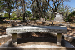 Memorial Bench at Johnny Mercer Gravesite Royalty Free Stock Photo