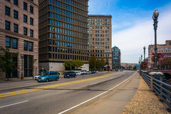 Memorial Boulevard in Providence, Rhode Island. Royalty Free Stock Photography