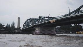 "Memorial Bridge in Bangkok, Thailand. Text in the photo is "" Beware the ship crash the bridge stock photography"