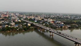 Memorial Bridge On The Que Huong River Pier stock images