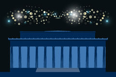 Memorial. The building with columns at night, bright flashes in the sky. Washington. USA. Vector illustration Stock Photography