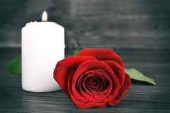 Memorial candle and rose. On wooden background Stock Images