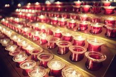 Memorial candles in church Stock Image