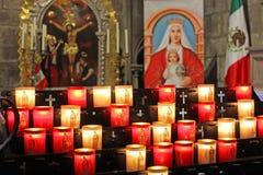 Memorial candles at Notre Dame de Paris Cathedral stock images