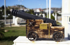 Memorial cannon on Salamis town hall stock photography