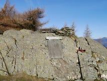 Memorial on Castle Crag, Borrowdale Stock Image
