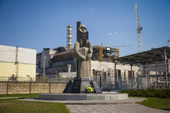 Memorial and Chernobyl nuclear power plant Royalty Free Stock Photo