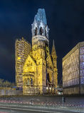 Memorial Church in Berlin by night Stock Images