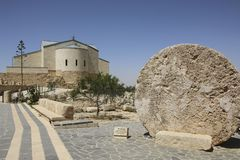 The Memorial church of Moses and Abu badd - rolling stone used a. S door of Byzantine Monastery on Mount Nebo, Jordan Royalty Free Stock Images