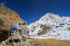 Memorial of climber beside of everest from everest trek Stock Photos