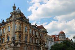 Memorial Column (1736) in front of the Bernardine Church, Lviv Stock Images