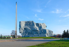 Memorial complex Brest Fortress-Hero. Back side of monument Courage and bayonet-obelisk Royalty Free Stock Photography