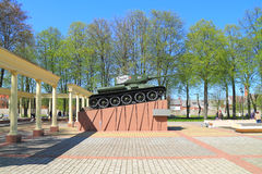 Memorial complex on a communal grave of Soviet soldiers, tank T-34. SOVETSK, KALININGRAD REGION, RUSSIA - MAY 5, 2016: Memorial complex on a communal grave of Royalty Free Stock Photo