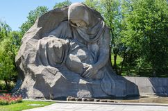 Monument `The Sorrowful Mother` on Mamayev Hill. Memorial complex `Heroes of the Battle of Stalingrad` in Volgograd formerly Stalingrad, Russia Royalty Free Stock Images