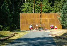 The memorial complex in Katyn in the Smolensk region of Russia. Katyn execution-mass killings of Polish citizens, mostly captured officers of the Polish army Royalty Free Stock Image