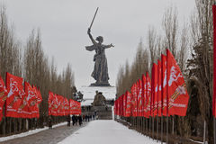 The memorial complex Mamaev Kurgan decorated with flags in honor. VOLGOGRAD - FEBRUARY 5: The memorial complex Mamaev Kurgan decorated with flags in honor of the royalty free stock images