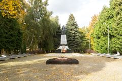 Memorial complex on the mass grave of Soviet soldiers who died i. ZELENOGRADSK,  KALININGRAD REGION, RUSSIA - OCTOBER, 18, 2017: Memorial complex on the mass Stock Image