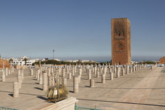 The memorial complex on the site of the ruins of the mosque Hassan. Rabat. Morocco. Royalty Free Stock Image