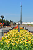 Memorial complex in Victory park (Focus on tulips) Royalty Free Stock Photography