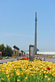 Memorial complex in Victory park (Focus on tulips) Royalty Free Stock Images