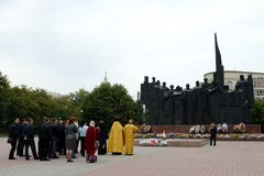 The memorial complex on Victory square in the city of Voronezh Stock Image