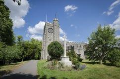 Memorial Cross and Church Tower, Chilham, Kent, UK Stock Images