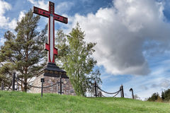 Memorial cross in honor of the victory of Russian arms over the foreign invaders, installed at the entrance to the city of Sebezh Stock Image