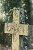 A memorial cross to mother, the Old Cemetery, Southampton Common Royalty Free Stock Image