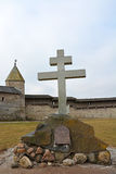 Memorial cross to the 1100th anniversary of the Pskov Kremlin. Russia Stock Photo