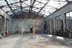 Memorial da escola de Beslan, onde o ataque terrorista estava em 2004 Fotografia de Stock Royalty Free