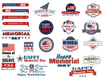 Memorial Day sale badges and stickers Royalty Free Stock Image
