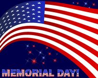 Memorial Day. American flag and beautiful text. Memorial Day. American flag and beautiful text on a dark background with fireworks. Vector illustration Vector Illustration