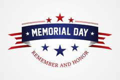 Memorial day - American flag ribbon with lettering Memorial Day vector illustration
