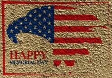 Memorial Day avec l'aigle dans des couleurs de drapeau national sur le mur Images stock