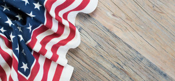 Memorial Day Background. American flag with stars and stripes on rustic wooden background Royalty Free Stock Images