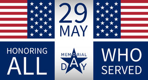 Memorial Day background with the emblem in the form Royalty Free Stock Photos