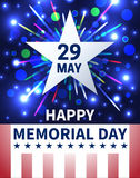 Memorial Day background with emblem in the form of a white star Royalty Free Stock Image