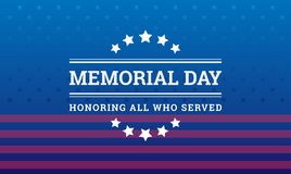 Memorial Day background - Honoring all who served banner vector. Memorial Day background - Honoring all who served banner with American flag texture - vector Stock Photography