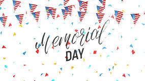 Memorial Day. Background with lettering, garland of USA flag and confetti Stock Images