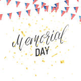 Memorial Day. Background with lettering, garland of USA flag and confetti Royalty Free Stock Photo
