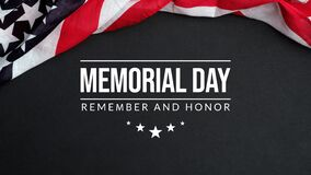 Free Memorial Day Background. Remember And Honor With Waving USA Flag On Dark Background Royalty Free Stock Images - 183043489