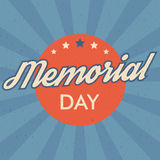Memorial Day background. Retro style vector illustration with text and stars for posters, flyers in colors of USA flag. Royalty Free Stock Images