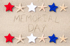 Memorial day background. On the sandy beach Stock Photography