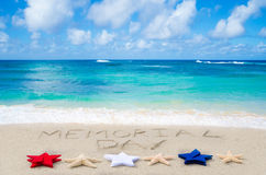 Memorial day background. On the sandy beach near ocean Stock Photography