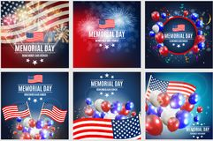 Memorial Day Background Template Vector Illustration Collection Set Stock Images